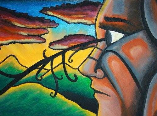Cuadro oleo - Mirada al sol